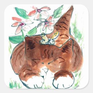 Siesta de la mariposa - gatito soñoliento, Sumi-e Calcomania Cuadrada Personalizada