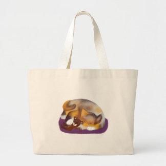 Siesta del gato con el oso de peluche bolsa tela grande