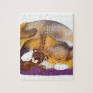 Siesta del gato con el oso de peluche rompecabezas