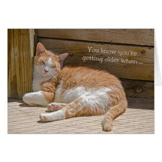 Siesta del gato del cumpleaños tarjeta de felicitación