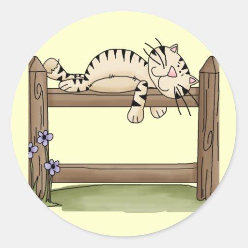 Siesta del gato del país pegatina redonda