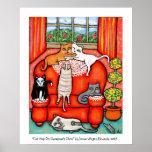 Siesta del gato en la silla de la abuela poster