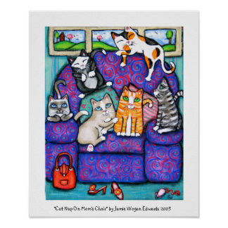 Siesta del gato en la silla de la mamá póster