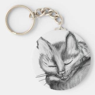 Siesta del gato llavero redondo tipo pin