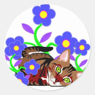 Siesta del gato pegatina redonda