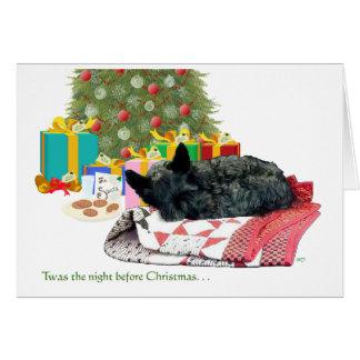 Siesta del navidad de Terrier del escocés Tarjetón