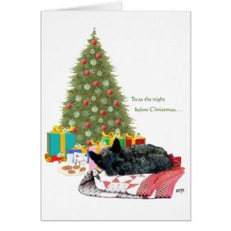 Siesta del navidad de Terrier del escocés Tarjeta De Felicitación