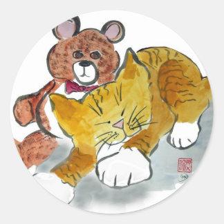 Siesta del oso de peluche - tigre de los sueños pegatina redonda