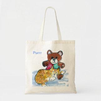 Siesta del oso del peluche del gatito bolsas de mano