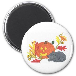 Siesta del otoño imán redondo 5 cm