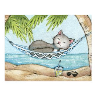 Siesta en el paraíso - arte lindo del gato de las postal