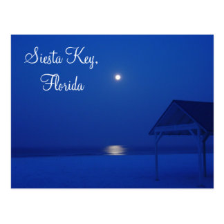 Siesta Key, Florida - Full moon over gulf at dawn Postcard