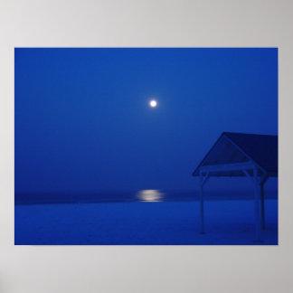 Siesta Key, Florida - Full moon over gulf at dawn Poster