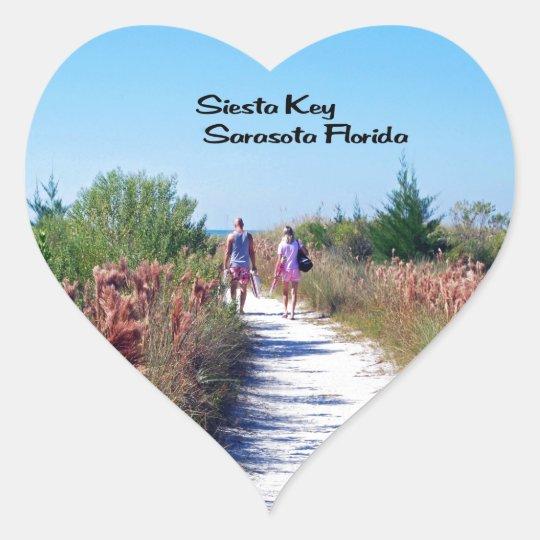Siesta Key Heart Sticker