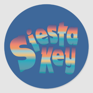 Siesta Key in sunset colors Classic Round Sticker