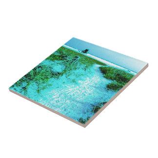 Siesta Keys Beach in Colored Edges Themed Gifts Ceramic Tile