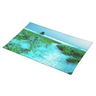 Siesta Keys Beach in Colored Edges Themed Gifts Cloth Placemat