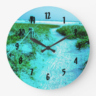 Siesta Keys Beach in Colored Edges Themed Gifts Large Clock