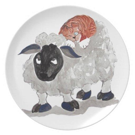 Siesta natural Sumi-e del gato   de las lanas Plato Para Fiesta