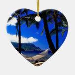 Siesta tropical Kauai Hawaii de la tarde de la Adorno De Cerámica En Forma De Corazón