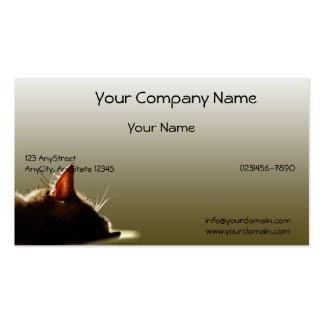 Siesta verde y gris del gato tarjetas de visita