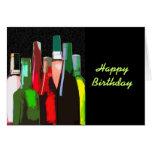 Siete botellas de vino en el cumpleaños de la pare tarjeton