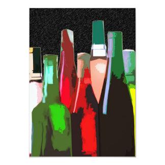 Siete botellas de vino en la pared invitación 12,7 x 17,8 cm
