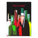 Siete botellas de vino en la pared le invitan anuncio personalizado