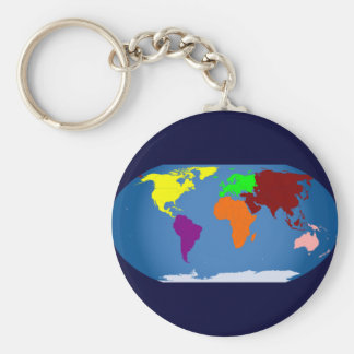 Siete continentes coloreados llavero redondo tipo pin