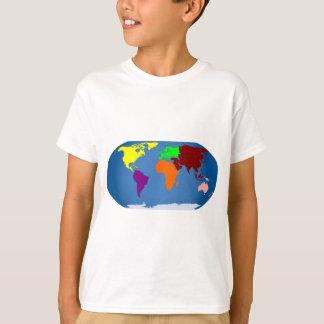 Siete continentes coloreados playera