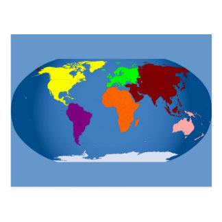 Siete continentes coloreados tarjeta postal