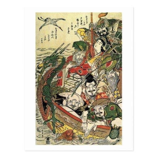 Siete dioses de bella arte de Hokusai de la buena Tarjeta Postal