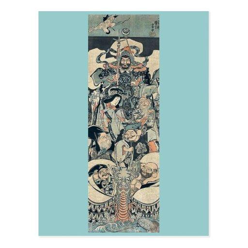 Siete dioses de buena fortuna por Utagawa, Kuniyos Postales