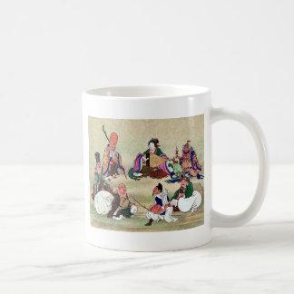 Siete dioses de buena suerte Ukiyoe Tazas De Café