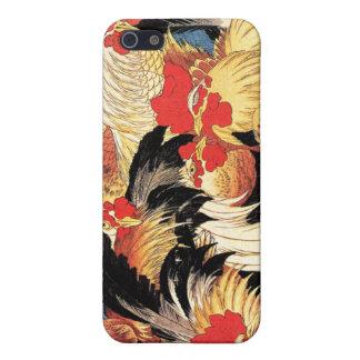 Siete gallos, Hokusai iPhone 5 Funda