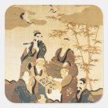 Siete hombres sabios en el bosque de bambú calcomanía cuadradas personalizadas
