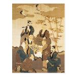 Siete hombres sabios en el bosque de bambú postal