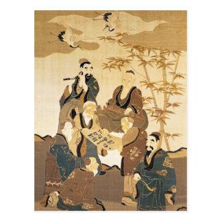 Siete hombres sabios en el bosque de bambú tarjetas postales