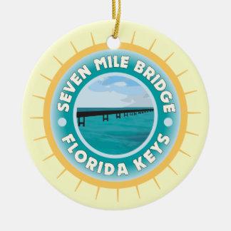 Siete llaves de la Florida del puente de la milla Adorno Navideño Redondo De Cerámica