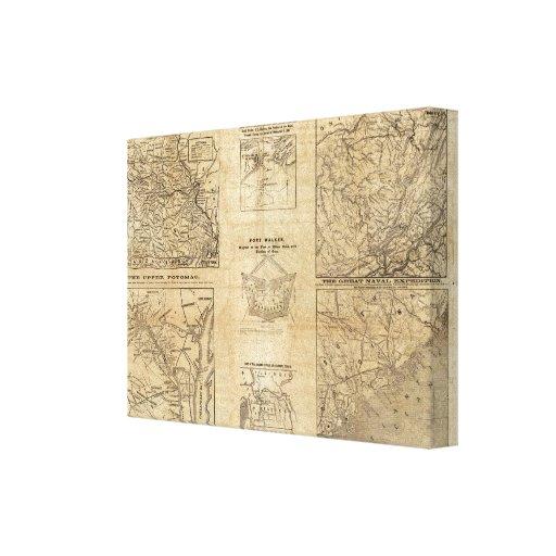 Siete mapas de New York Herald Impresión En Lona