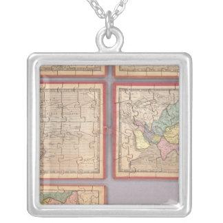 Siete mapas del rompecabezas del mundo colgante cuadrado