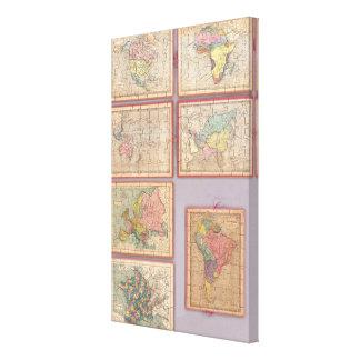 Siete mapas del rompecabezas del mundo impresión en lona estirada