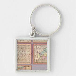 Siete mapas del rompecabezas del mundo llavero cuadrado plateado