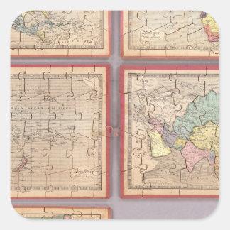 Siete mapas del rompecabezas del mundo pegatina cuadrada
