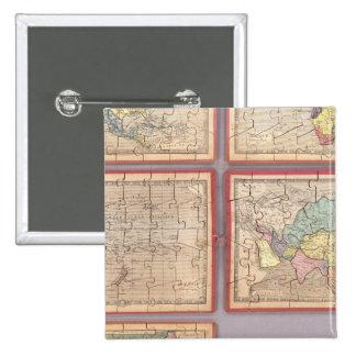 Siete mapas del rompecabezas del mundo pin cuadrada 5 cm