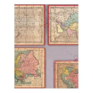 Siete mapas del rompecabezas del mundo postales