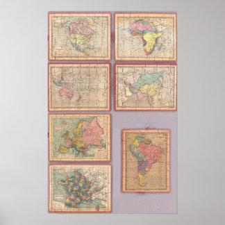 Siete mapas del rompecabezas del mundo póster