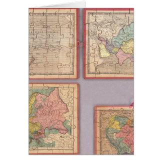 Siete mapas del rompecabezas del mundo tarjeta de felicitación