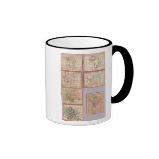 Siete mapas del rompecabezas del mundo taza de dos colores
