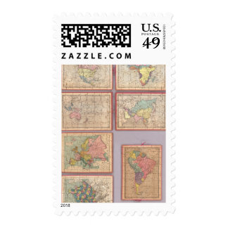 Siete mapas del rompecabezas del mundo timbre postal